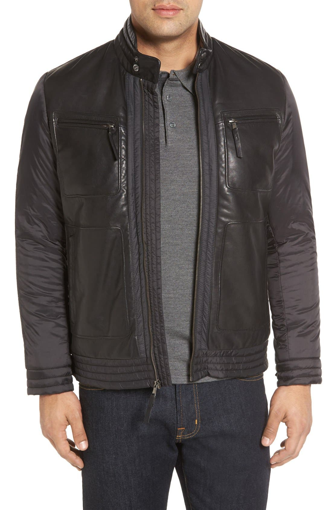 Leather Trimmed Nylon Jacket,                         Main,                         color, Black