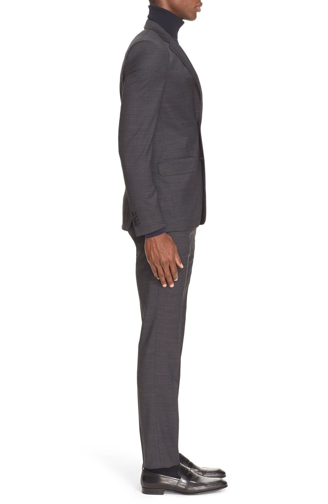 Extra Trim Fit Textured Wool Suit,                             Alternate thumbnail 3, color,                             Black