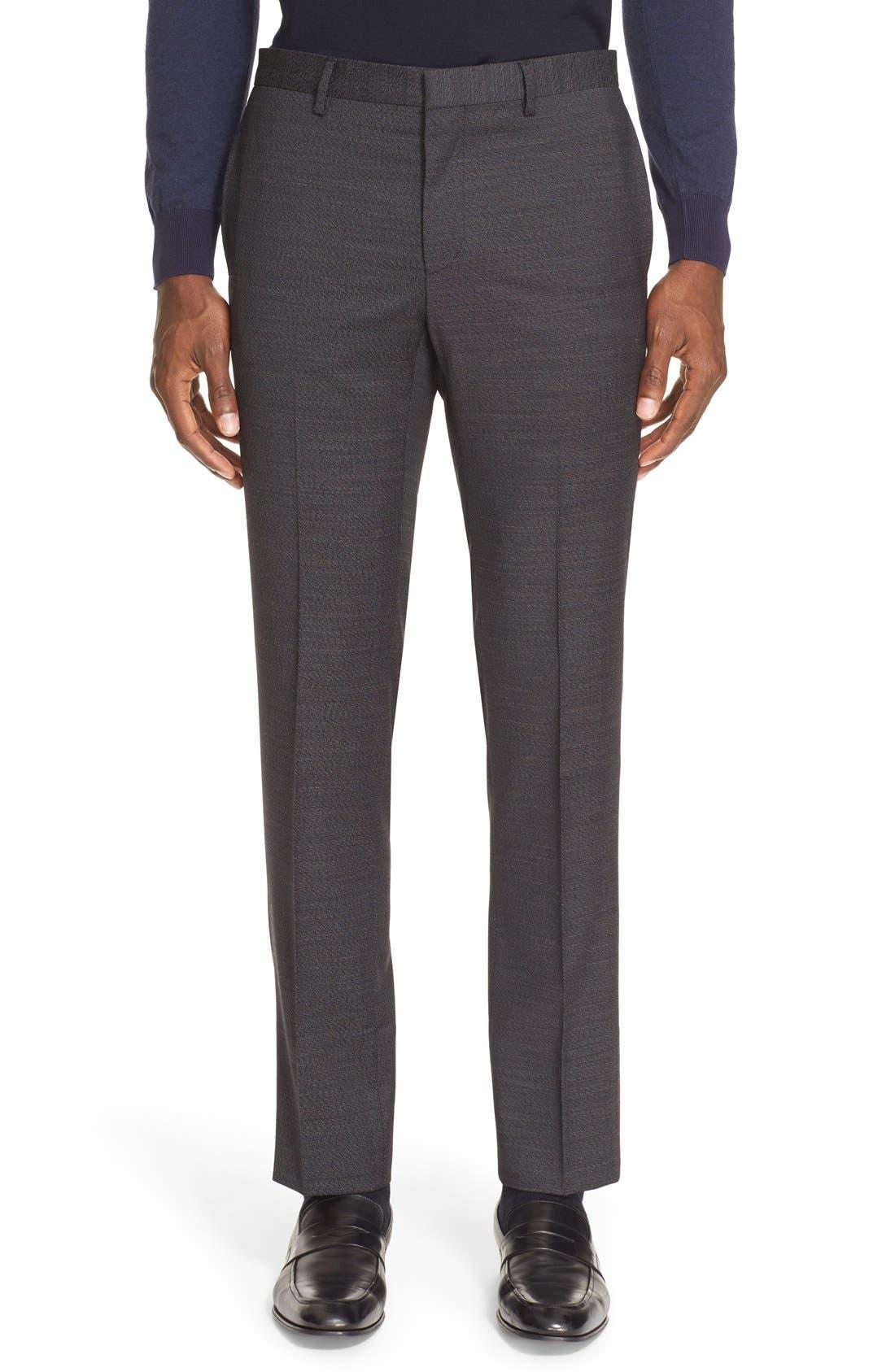Extra Trim Fit Textured Wool Suit,                             Alternate thumbnail 6, color,                             Black