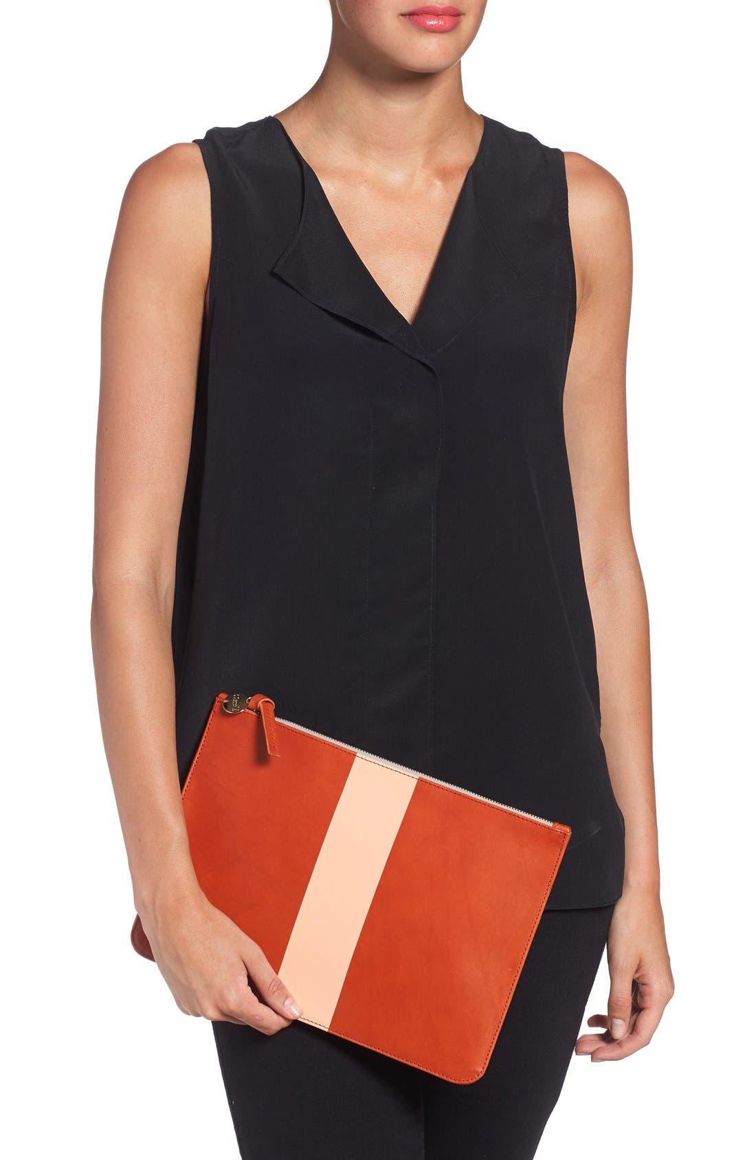 Alternate Image 2  - Clare V. Colorblock Leather Zip Clutch