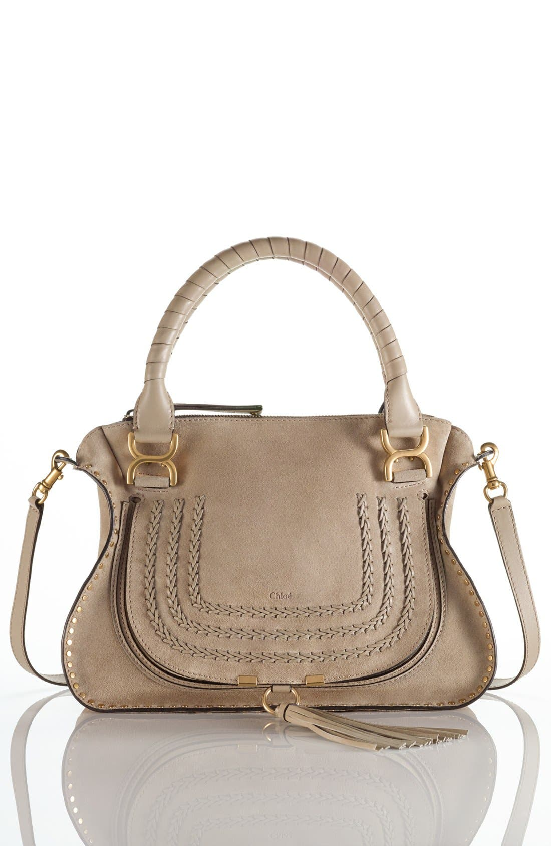 'Medium Marcie' Suede Satchel,                             Alternate thumbnail 2, color,