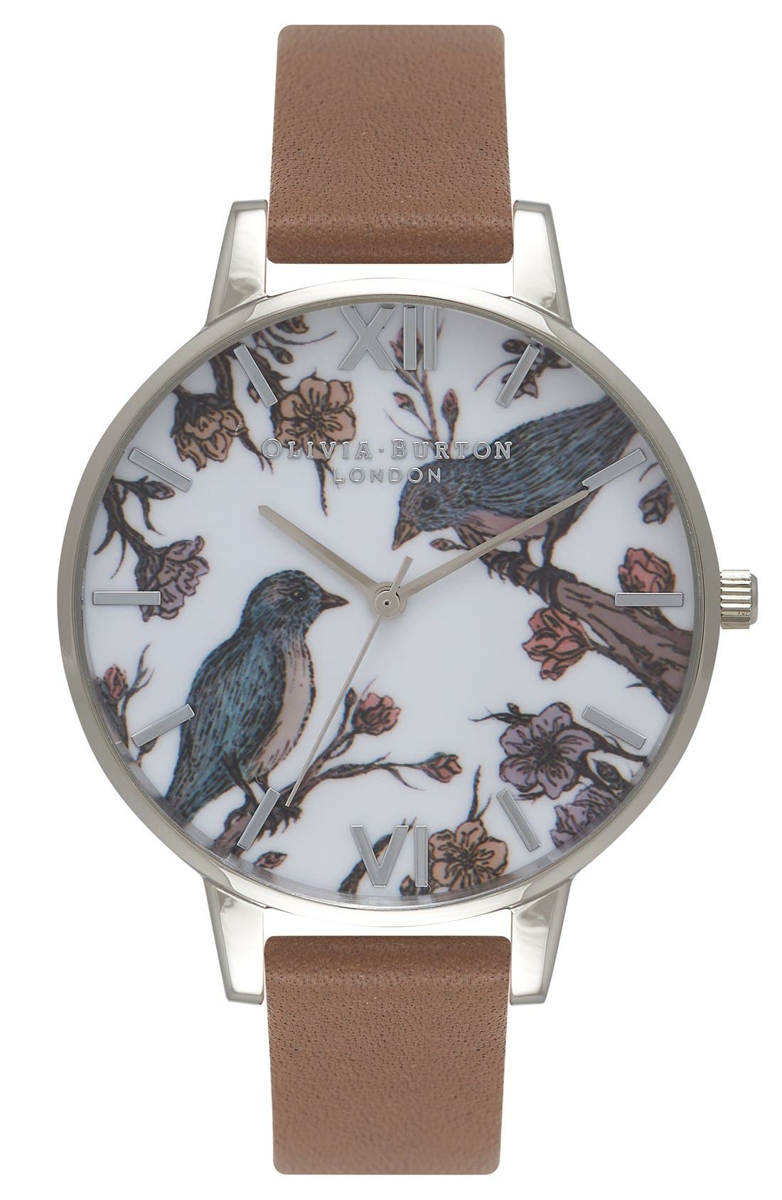 'Animal Motif' Leather Strap Watch, 38mm,                         Main,                         color, Taupe/ White