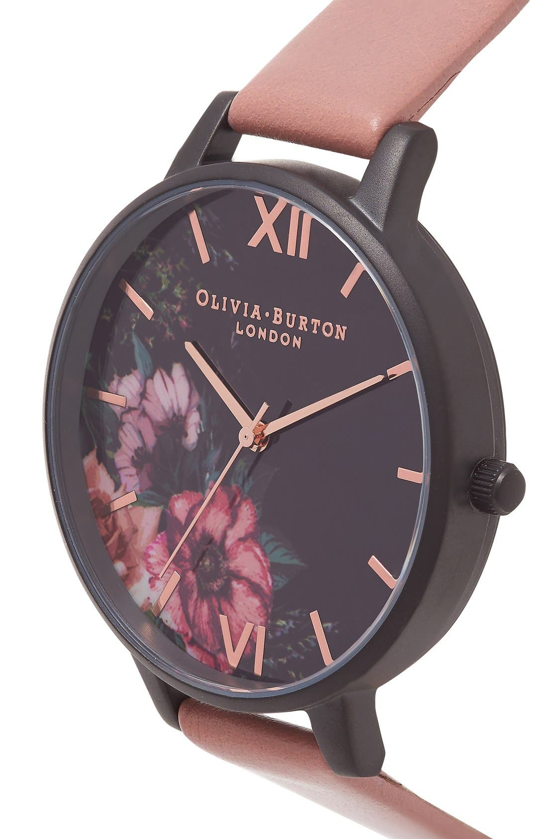 'After Dark' Leather Strap Watch, 38mm,                             Alternate thumbnail 3, color,                             Rose/ Black