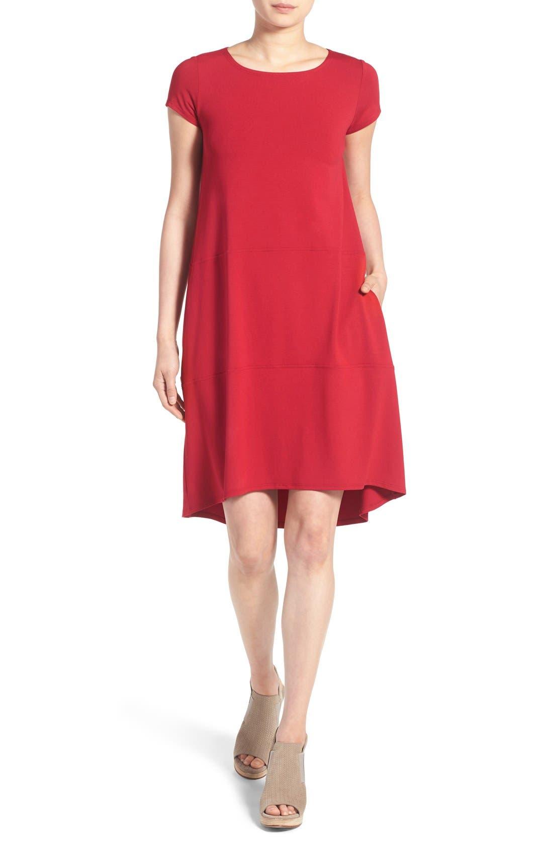 Alternate Image 1 Selected - Eileen Fisher Bateau Neck Cap Sleeve Dress (Regular & Petite)