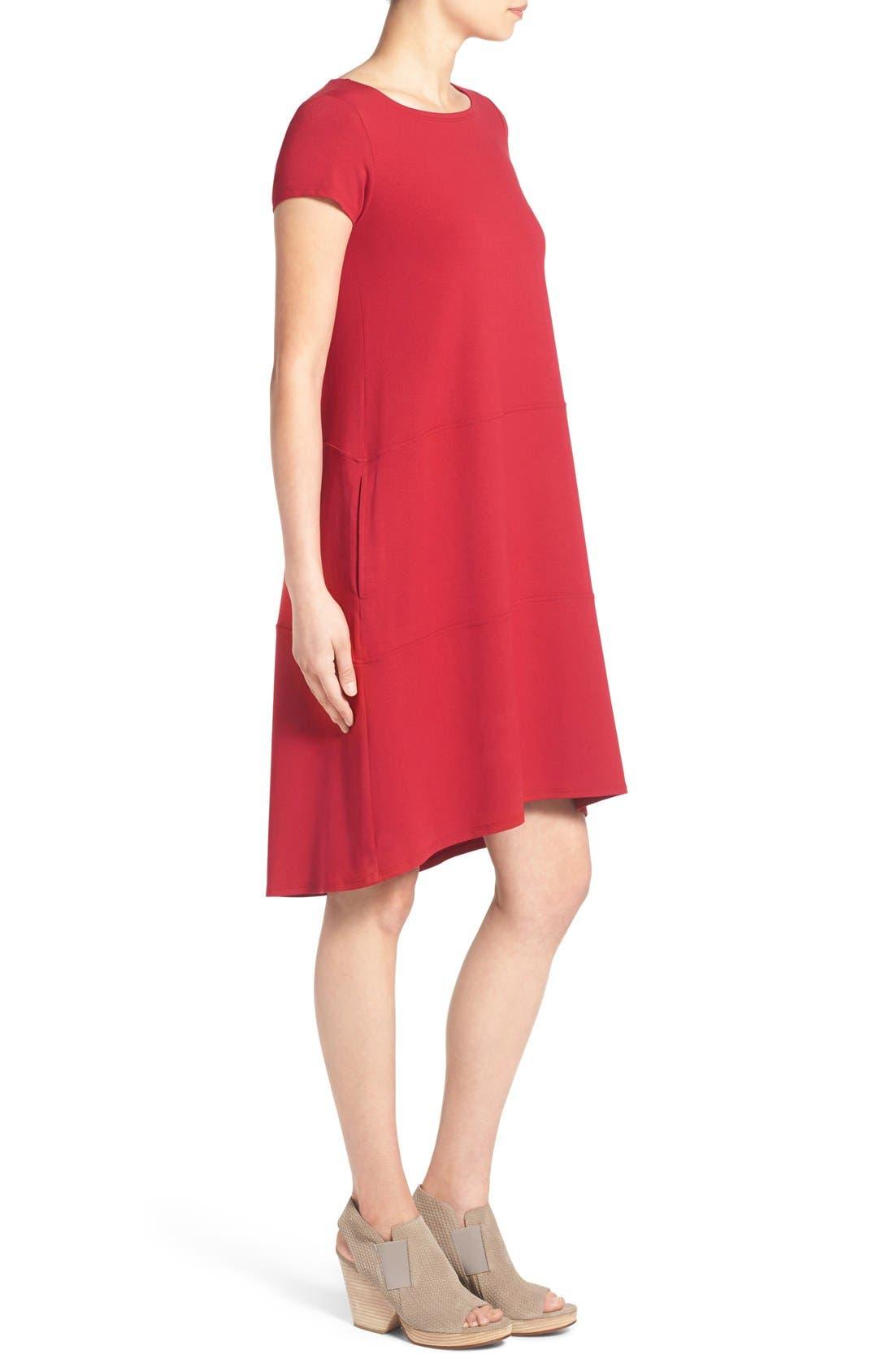 Alternate Image 3  - Eileen Fisher Bateau Neck Cap Sleeve Dress (Regular & Petite)