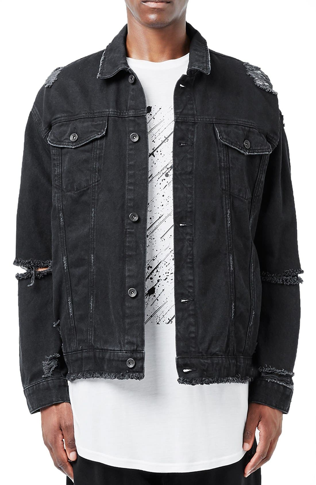 Main Image - Topman AAA Collection Ripped Denim Jacket
