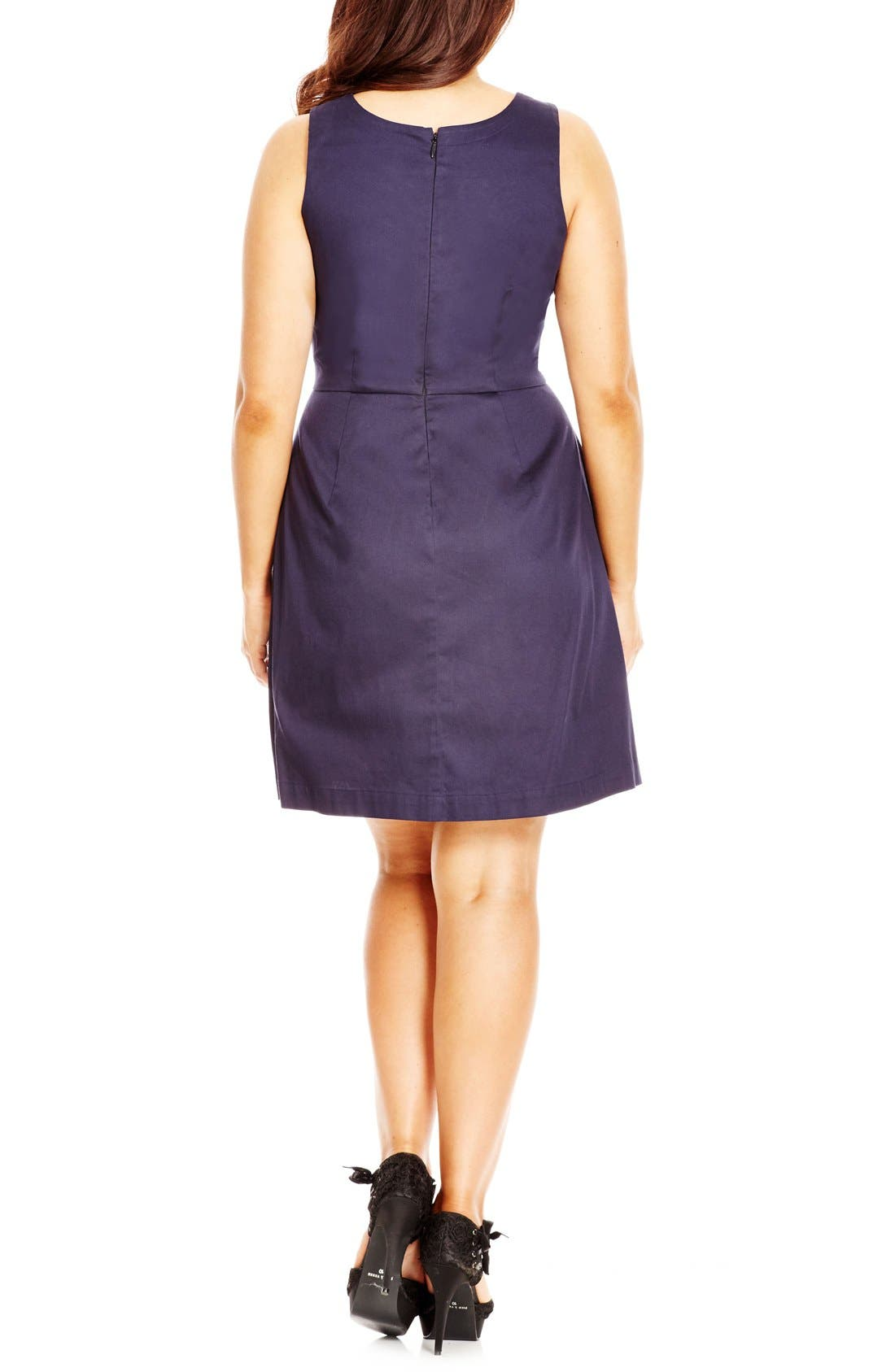 Alternate Image 2  - City Chic 'Mod Madness' Notch Neck Fit & Flare Dress (Plus Size)