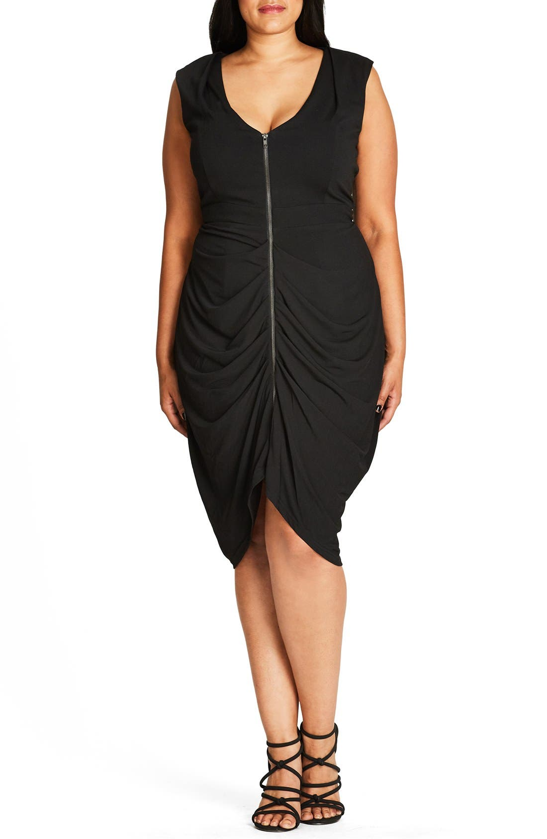 Sleeveless Ruched Zip Front Dress,                             Main thumbnail 1, color,                             Black