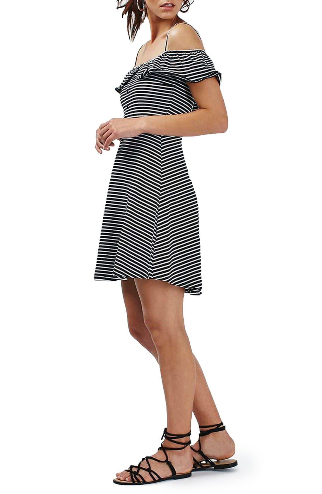 Alternate Image 2  - Topshop Stripe Bardot Button Detail Dress