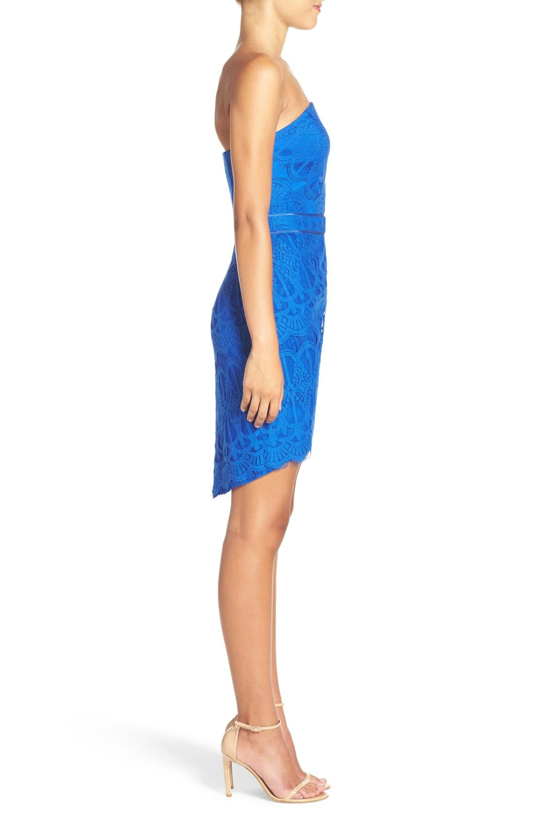 Strapless Lace Dress,                             Alternate thumbnail 3, color,                             Cobalt