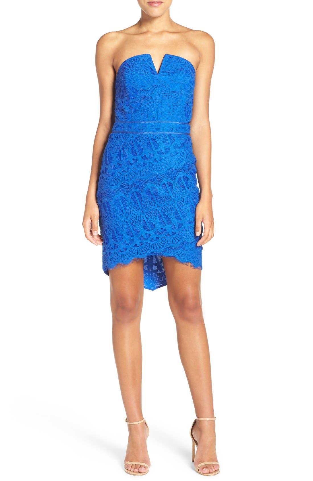 Strapless Lace Dress,                         Main,                         color, Cobalt