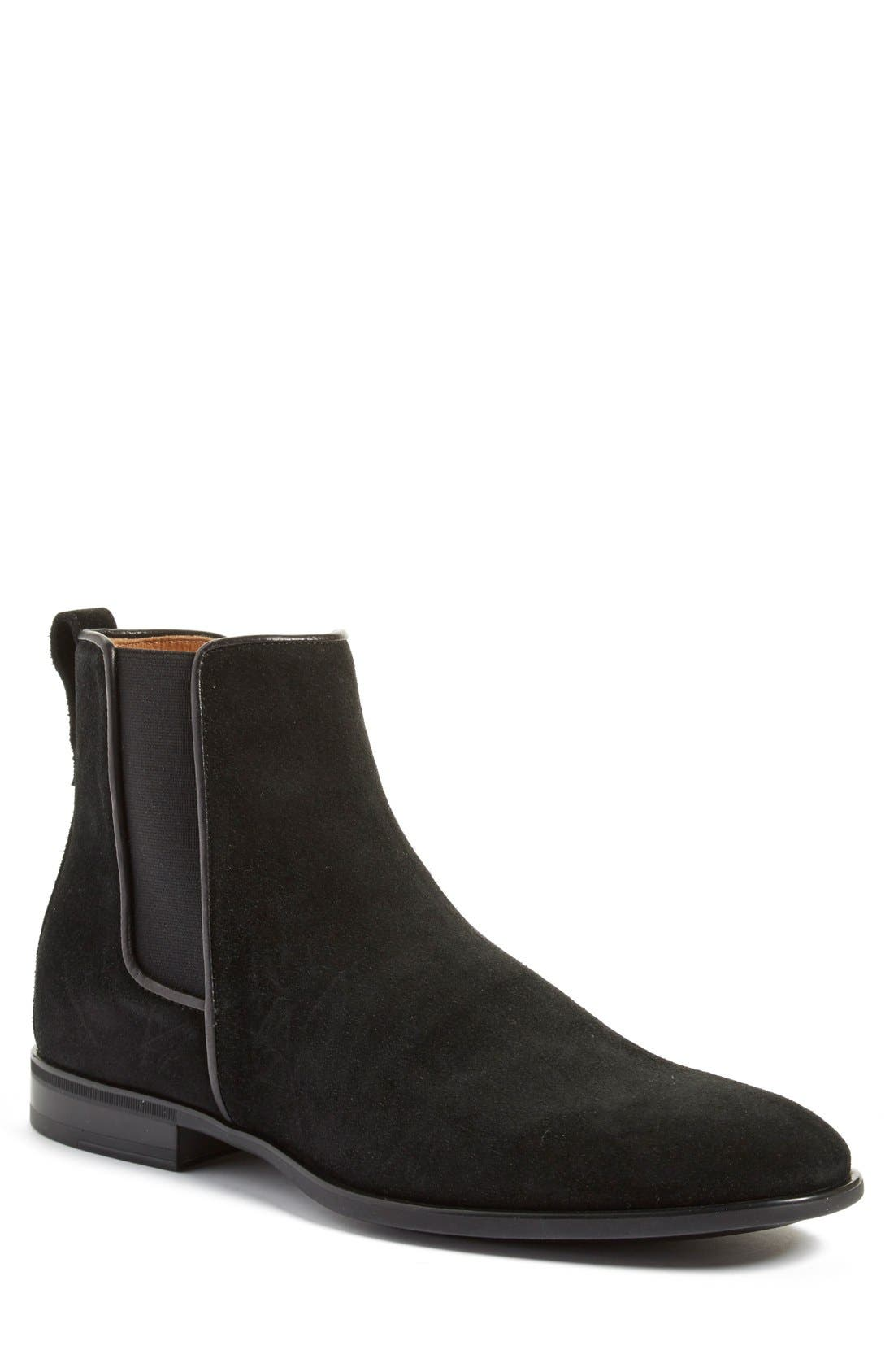 'Adrian' Weatherproof Chelsea Boot,                             Main thumbnail 1, color,                             Black Suede