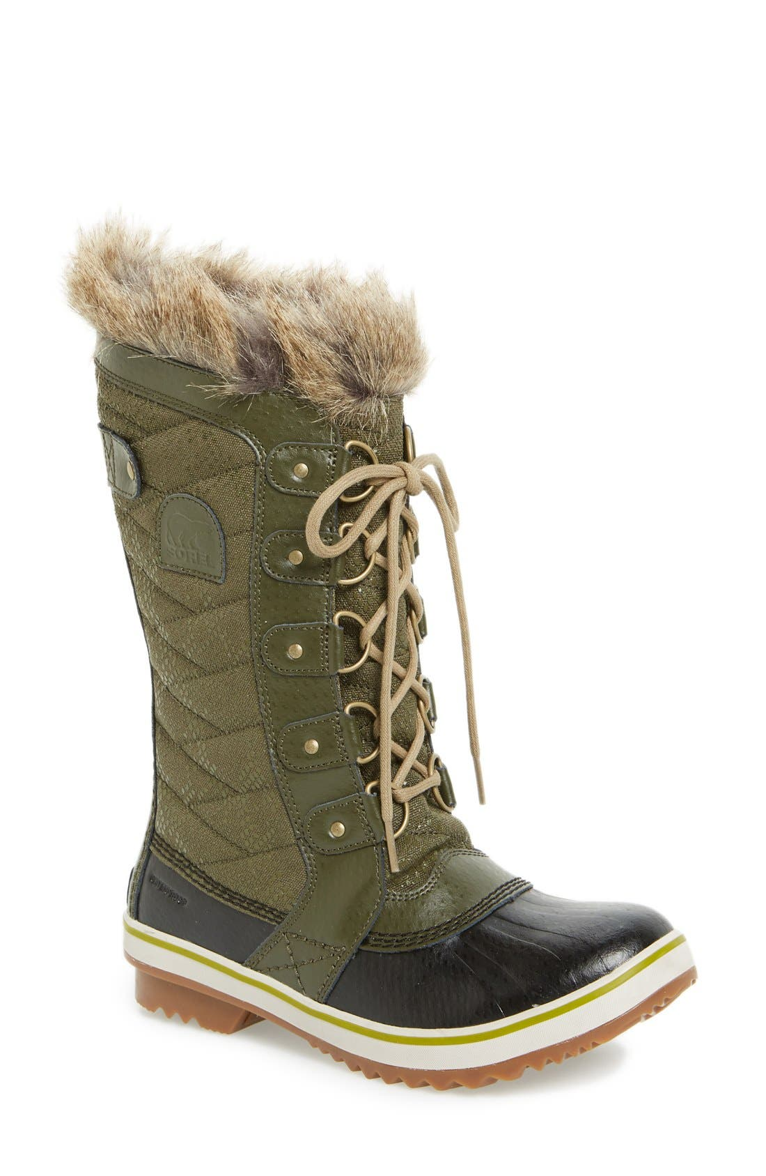 'Tofino II' Faux Fur Lined Waterproof Boot,                             Main thumbnail 1, color,                             Peatmoss