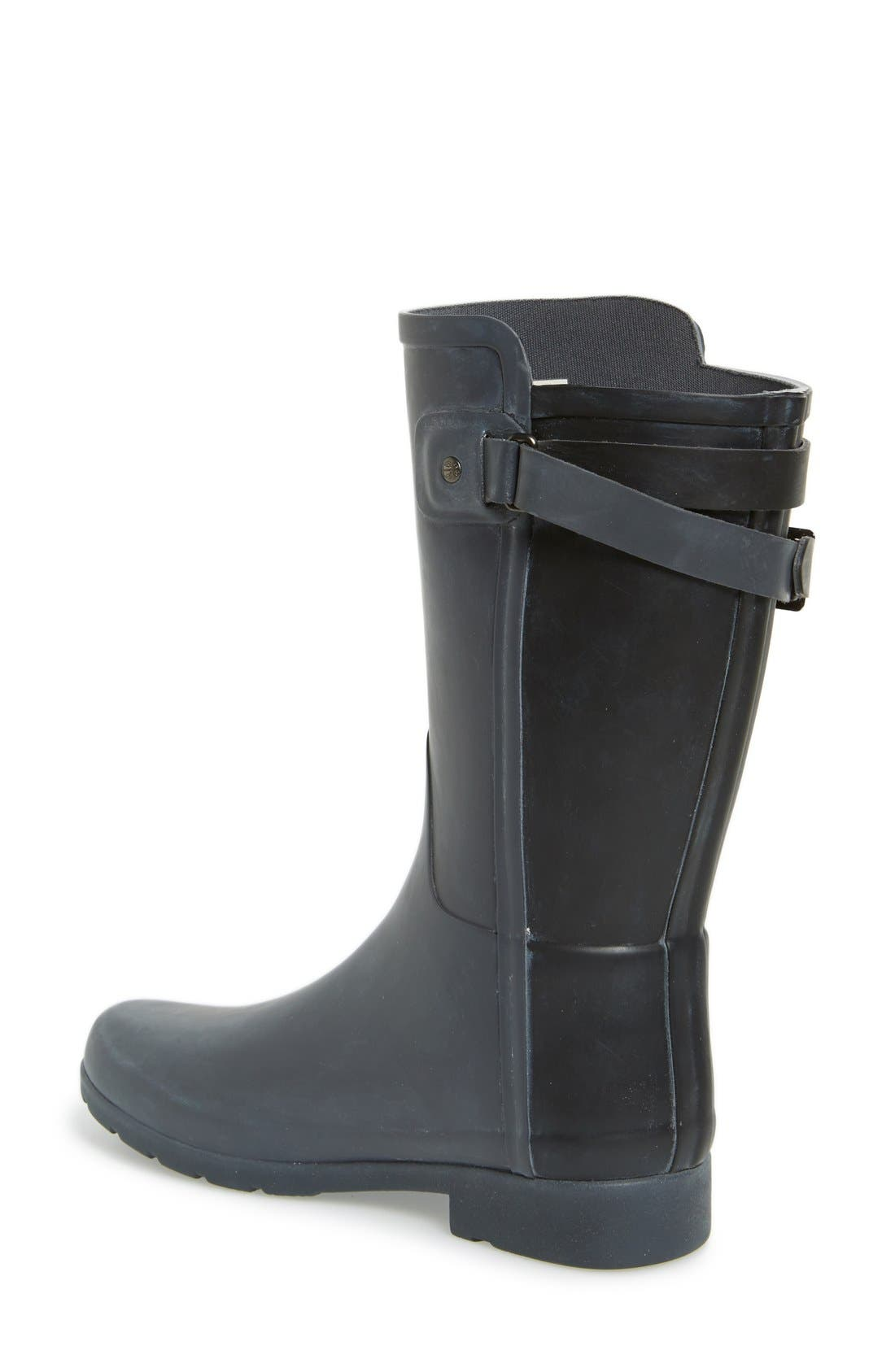 'Original Refined' Short Rain Boot,                             Alternate thumbnail 2, color,                             Dark Slate/ Black