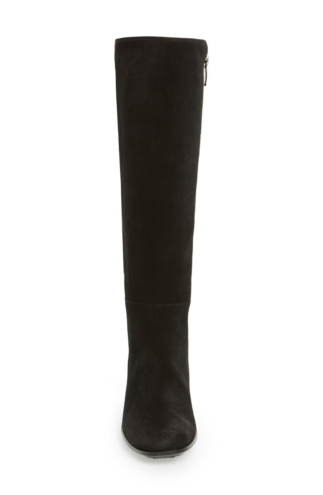 'Jackie' Water Resistant Boot,                             Alternate thumbnail 3, color,                             Black Suede