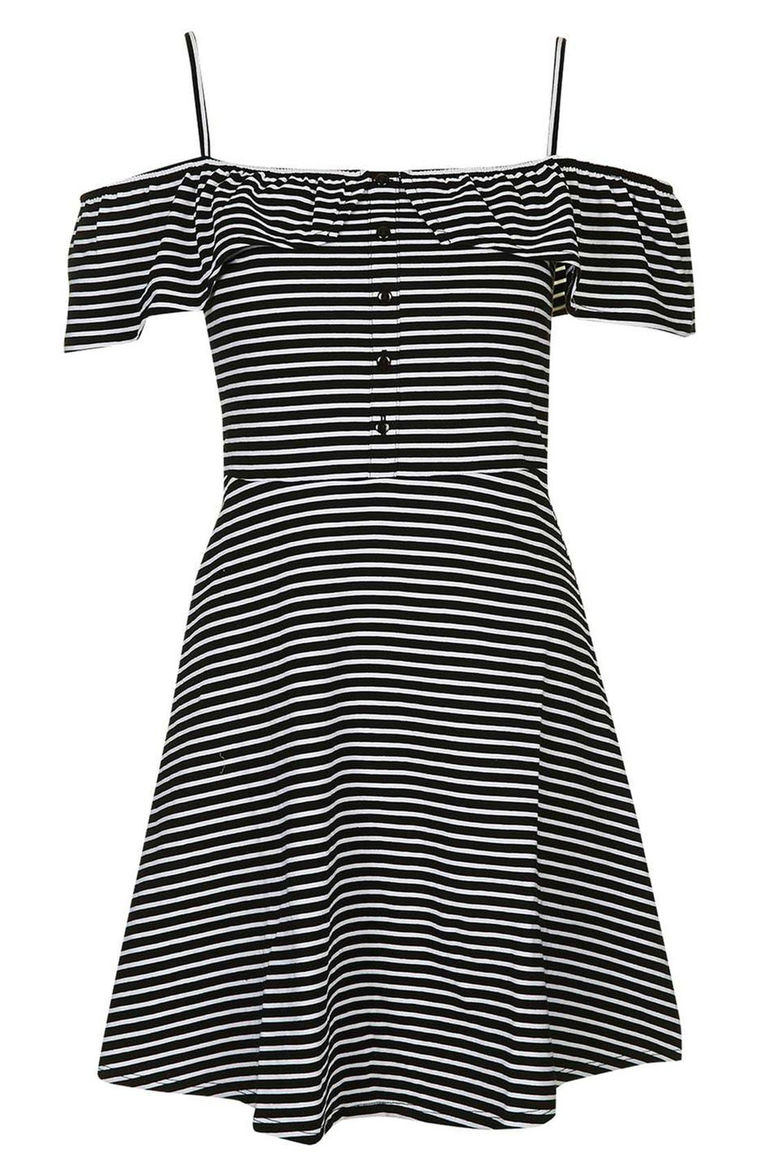Alternate Image 4  - Topshop Stripe Bardot Button Detail Dress