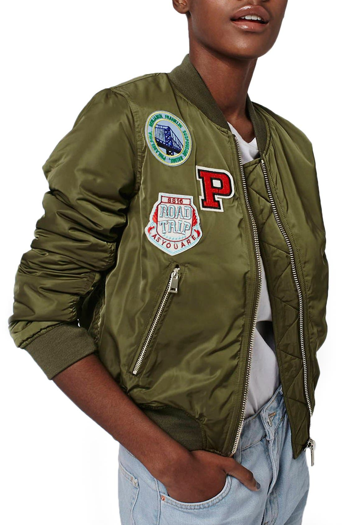 'Bruce' Patch Detail MA1 Bomber Jacket,                             Main thumbnail 1, color,                             Olive