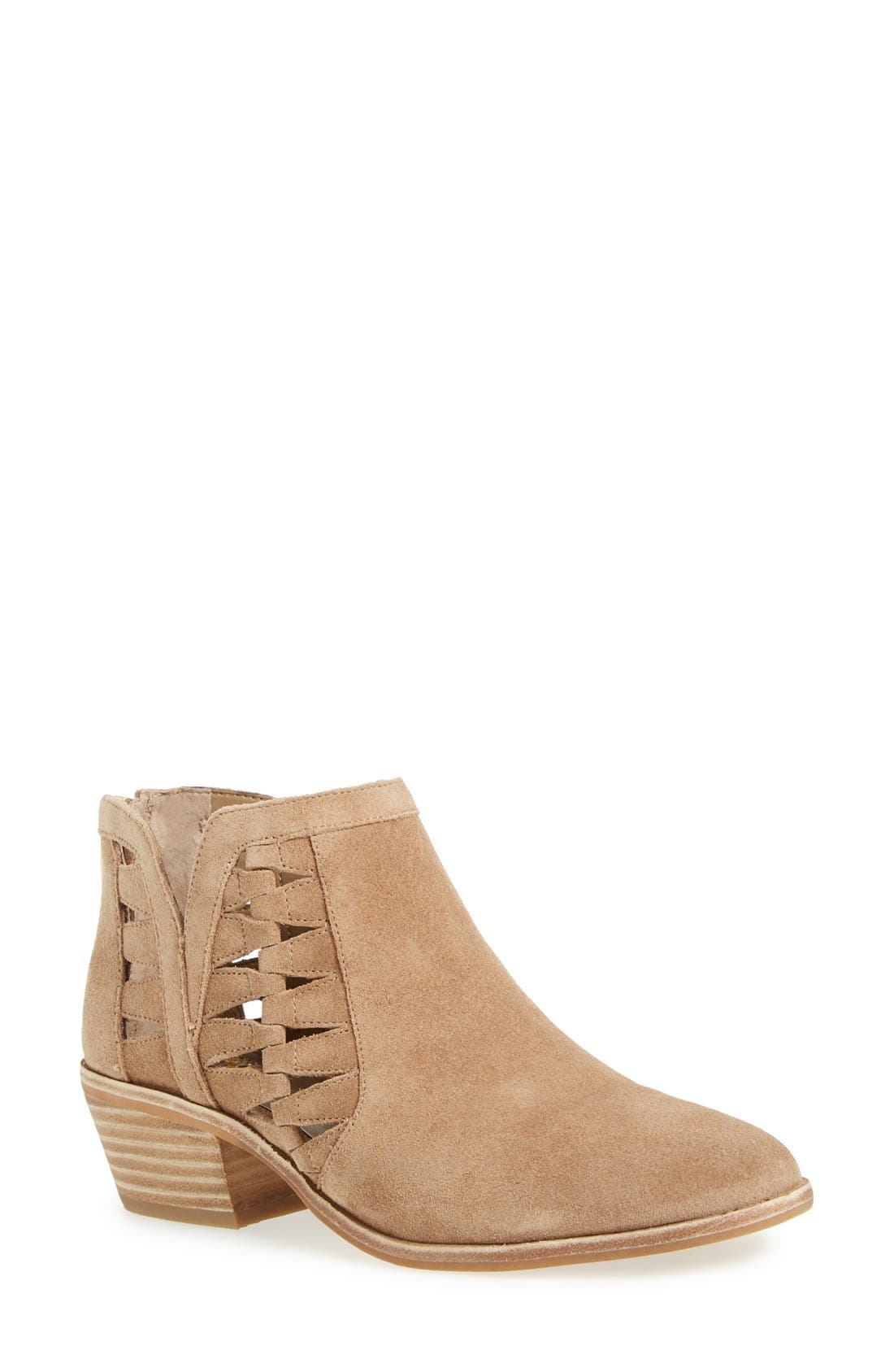 'Peera' Cutout Bootie,                         Main,                         color, Khaki Suede