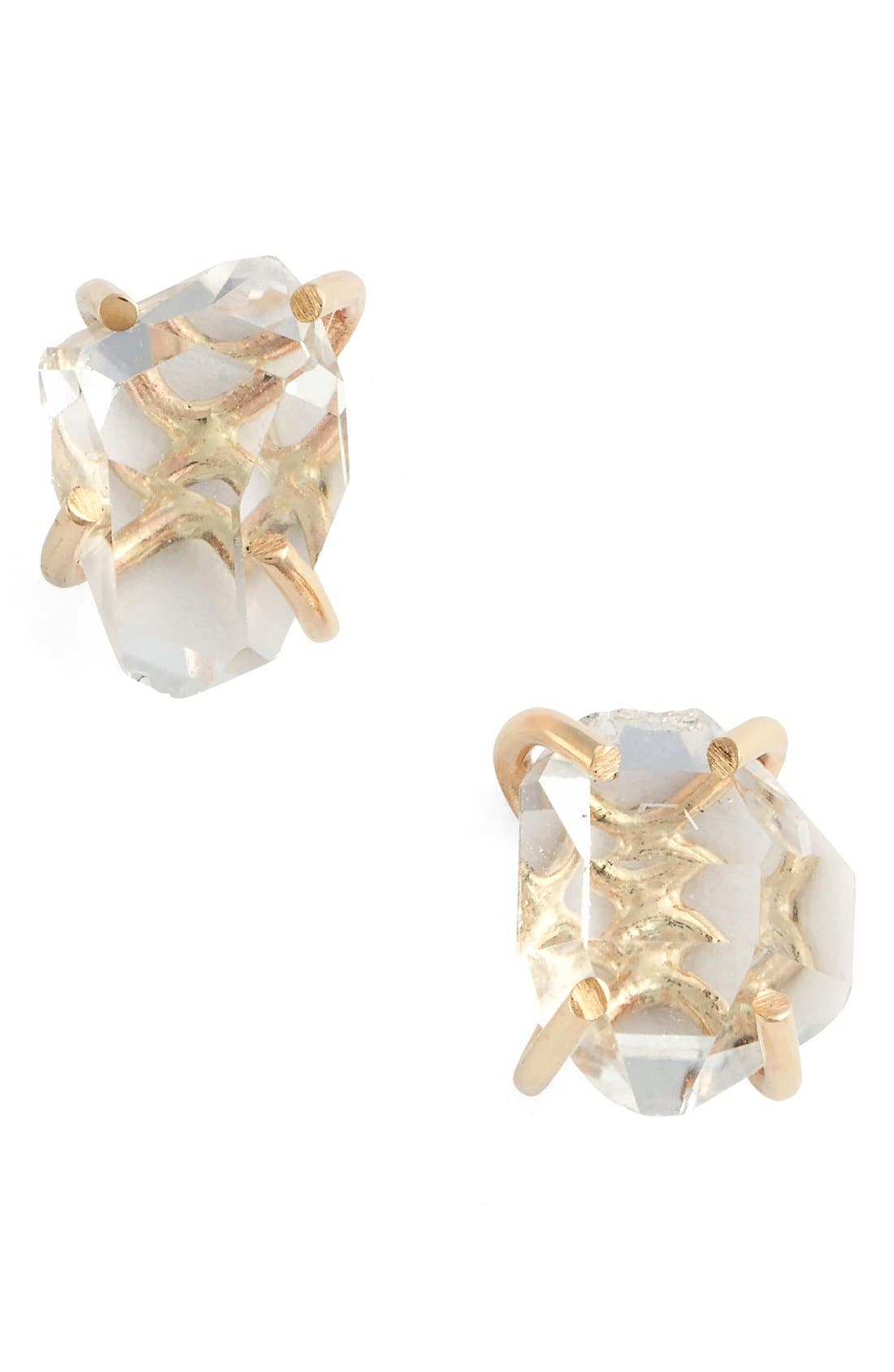 Herkimer Stud Earrings,                         Main,                         color, Yellow Gold