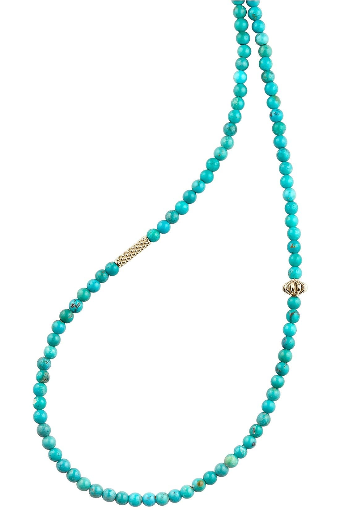 'Caviar Icon' Strand Necklace,                             Alternate thumbnail 2, color,                             Turquoise/ Gold
