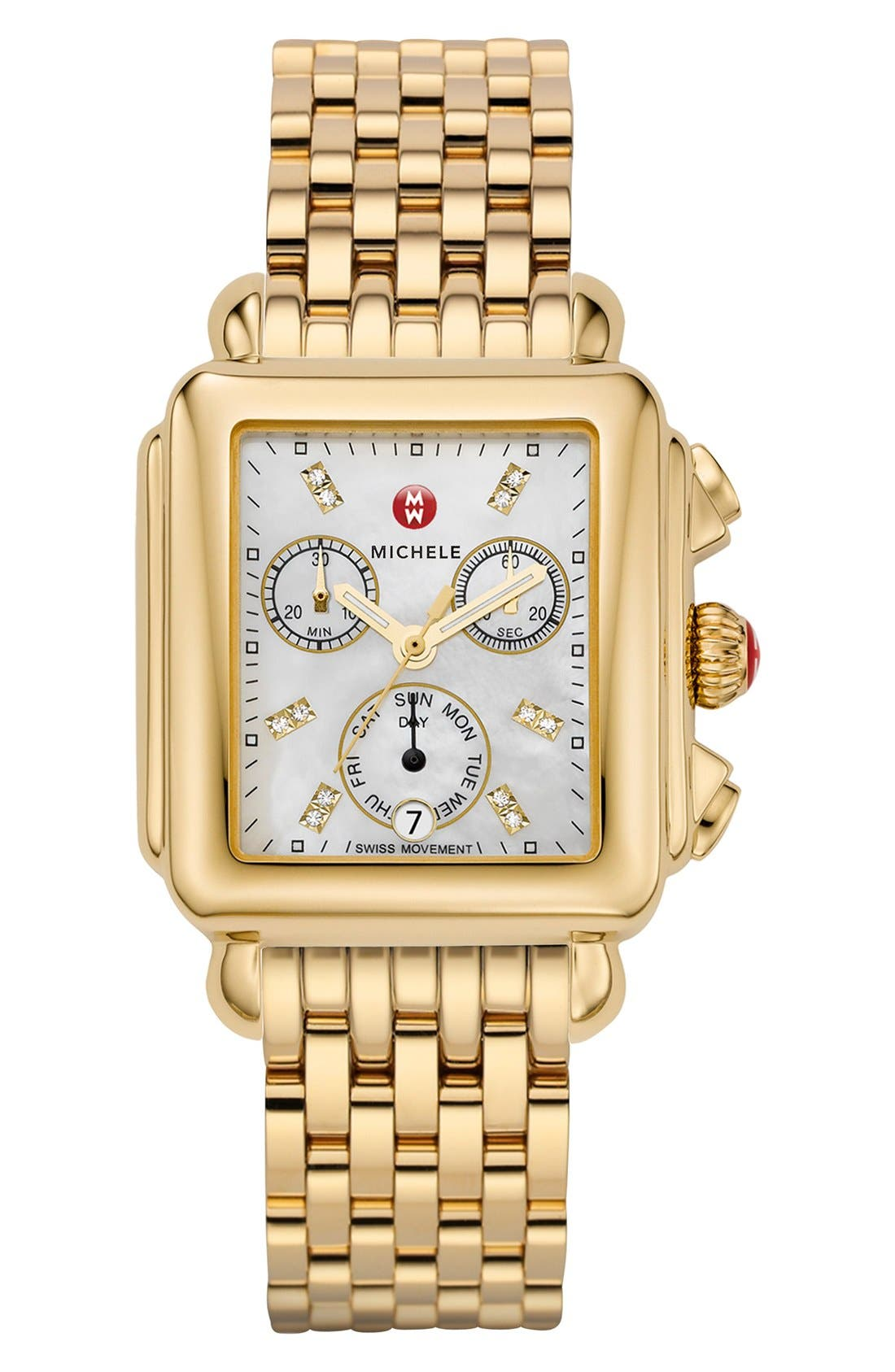 Deco Diamond Dial Gold Plated Watch Case, 33mm x 35mm,                             Alternate thumbnail 2, color,                             Gold