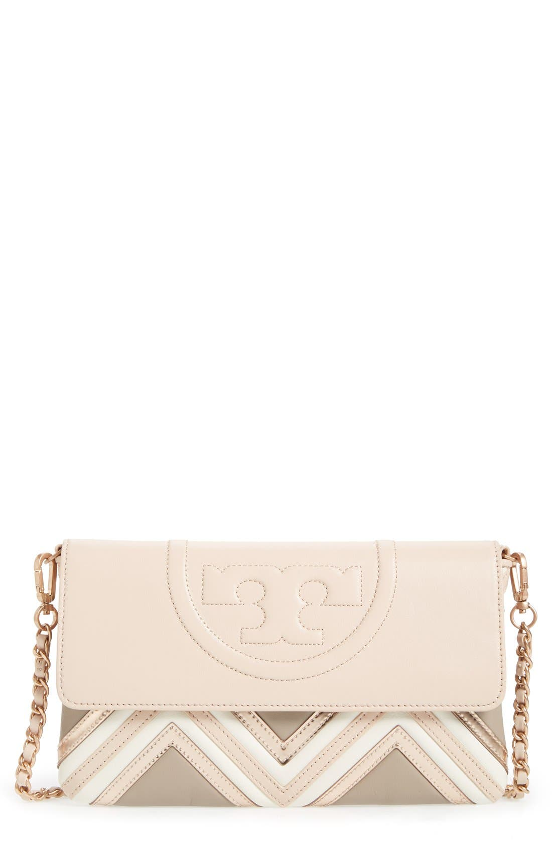 Main Image - Tory Burch 'Fleming Geo' Convertible Leather Clutch