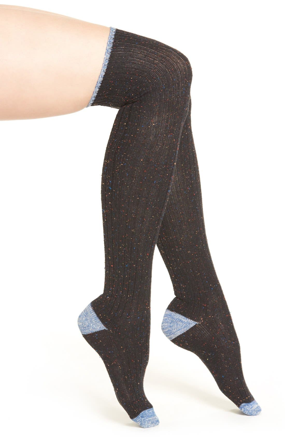 Main Image - Lemon 'Falling Leaves' Over The Knee Tweed Boot Socks