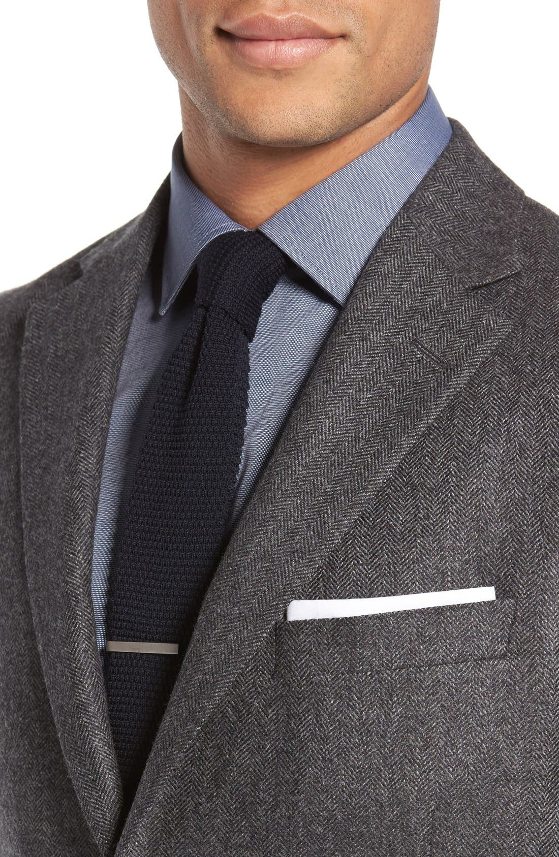 Beckett Classic Fit Herringbone Cashmere Sport Coat,                             Alternate thumbnail 4, color,                             Charcoal