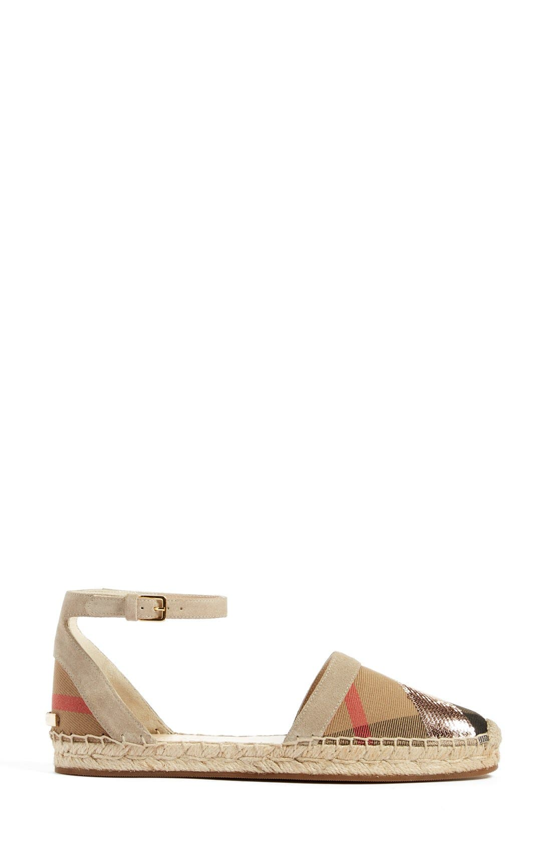 'Abbingdon' Ankle Strap Espadrille Sandal,                             Alternate thumbnail 4, color,                             Grey/ Pale Pink