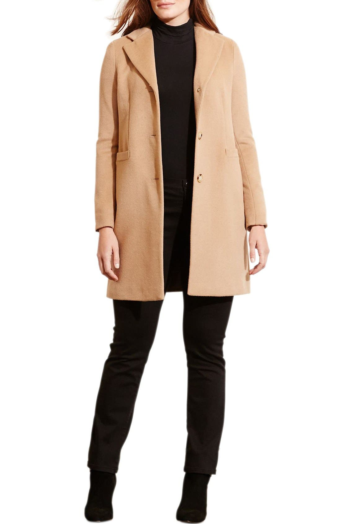 Alternate Image 3  - Lauren Ralph Lauren Wool Blend Reefer Coat (Plus Size)