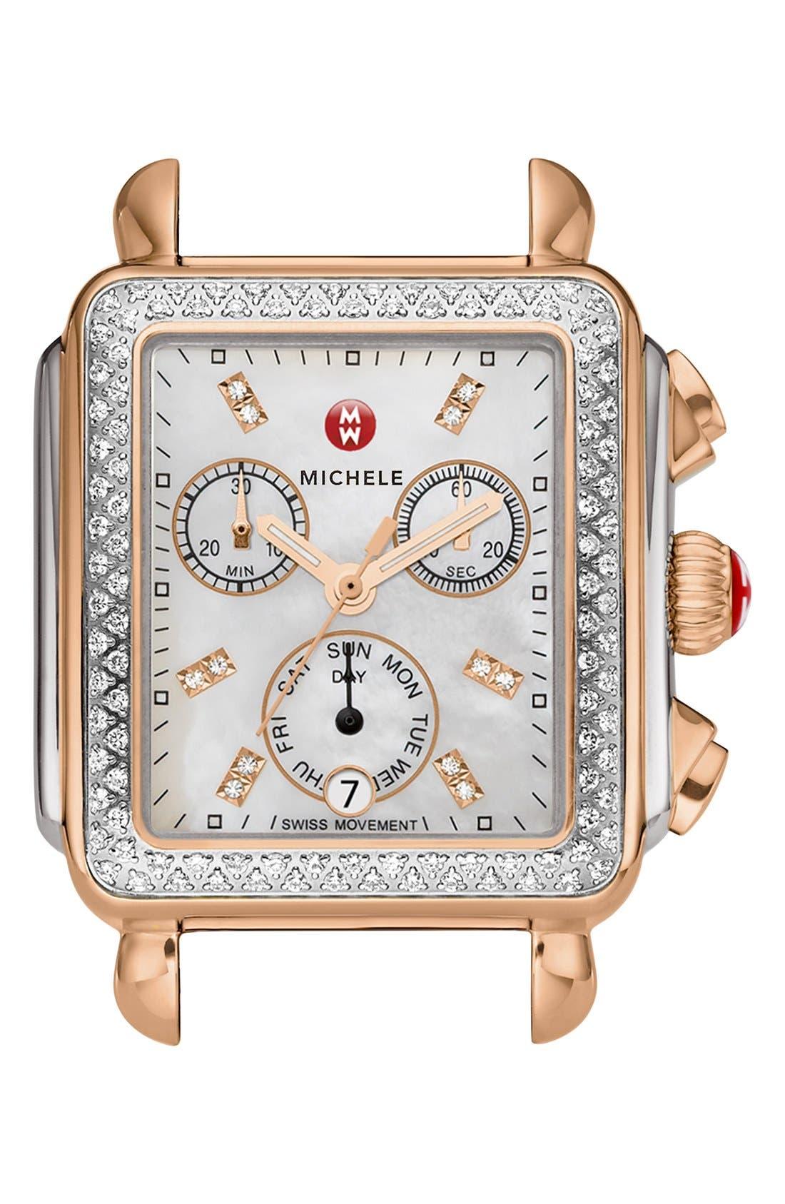 Deco Diamond Diamond Dial Watch Case, 33mm x 35mm,                             Main thumbnail 1, color,                             Silver/ Rose Gold