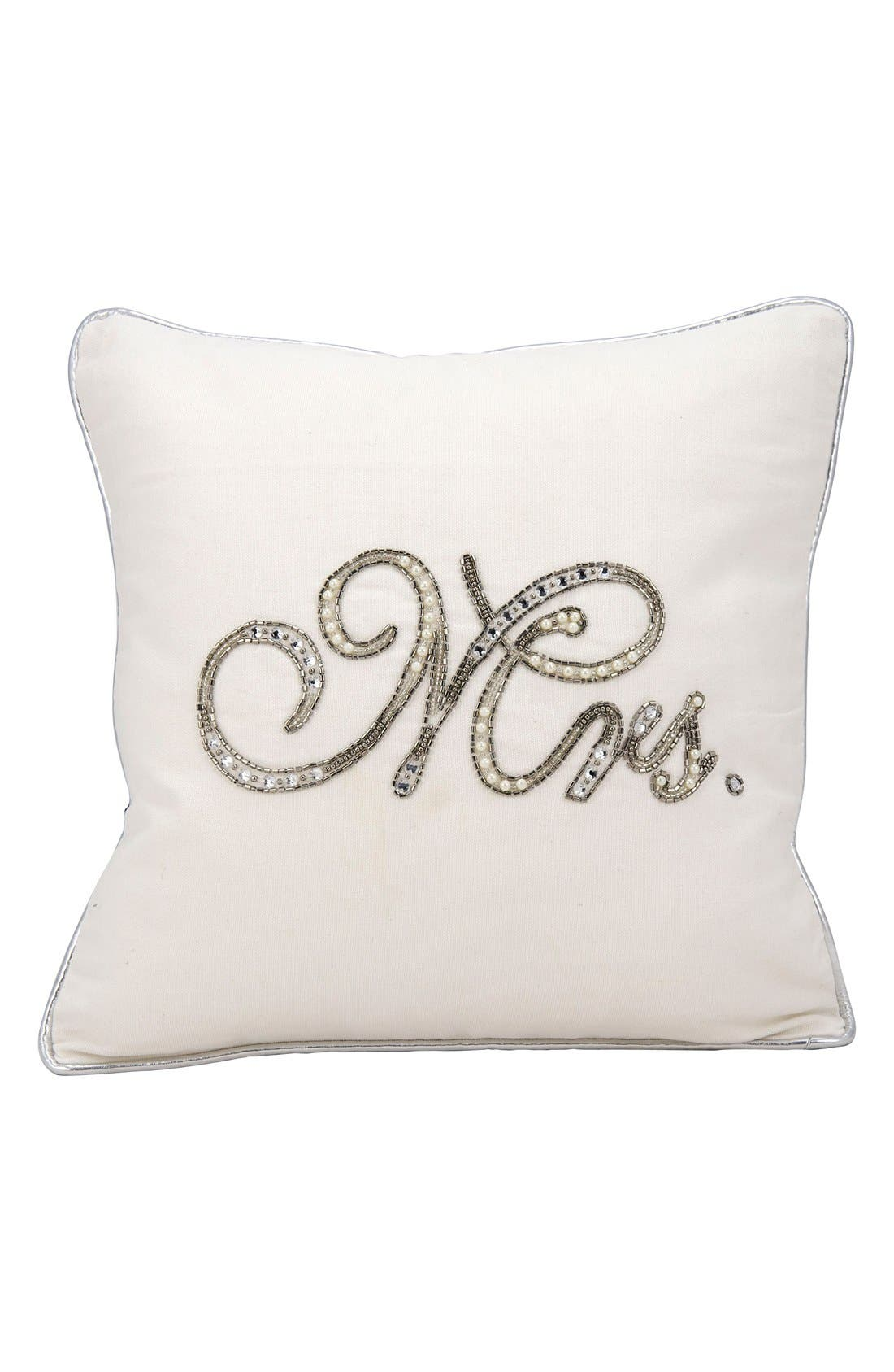 Embellished Wedding Pillow,                             Main thumbnail 1, color,                             Mrs