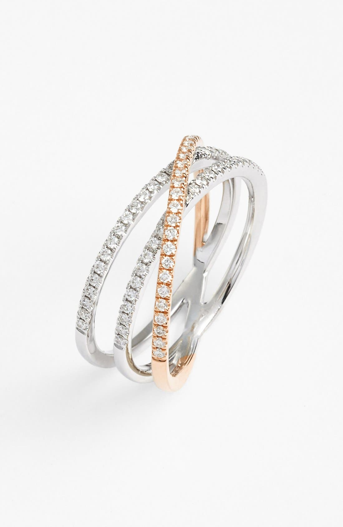 Crossover Three-Row Diamond Ring,                             Main thumbnail 1, color,                             White Gold/ Rose Gold