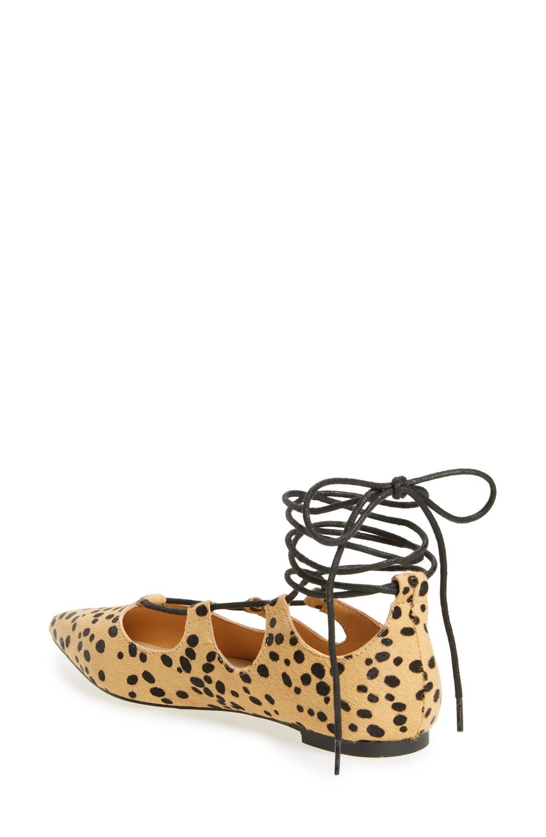 'Rian' Ghillie Lace Pointy Toe Flat,                             Alternate thumbnail 2, color,                             Leopard Haircalf