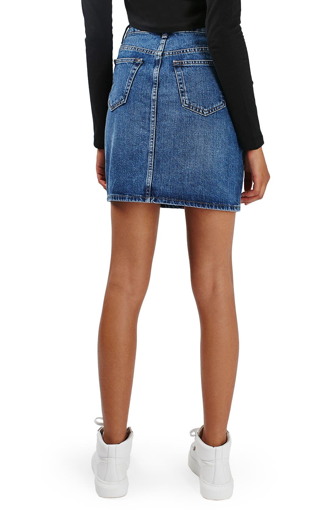 Alternate Image 3  - Topshop Moto High Rise Denim Skirt