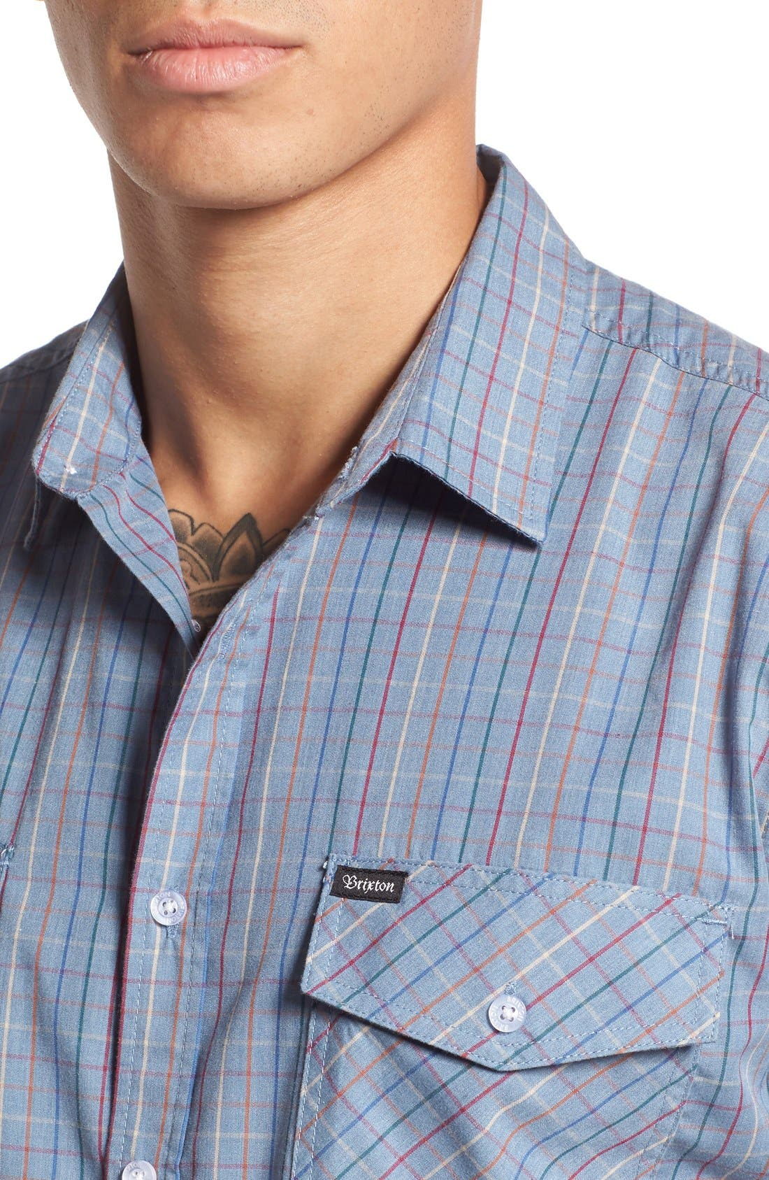 'Memphis' Trim Fit Plaid Short Sleeve Woven Shirt,                             Alternate thumbnail 4, color,                             Washed Blue