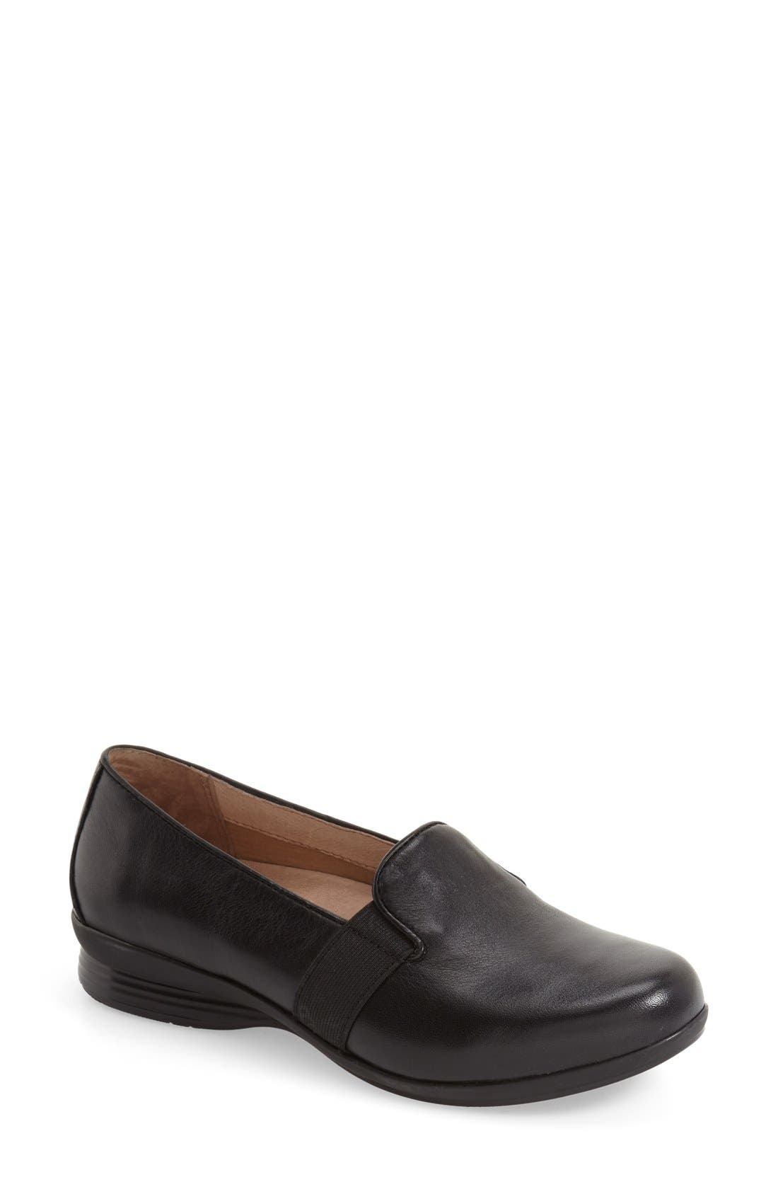 'Addy' Loafer,                             Main thumbnail 1, color,                             Black Nappa Leather
