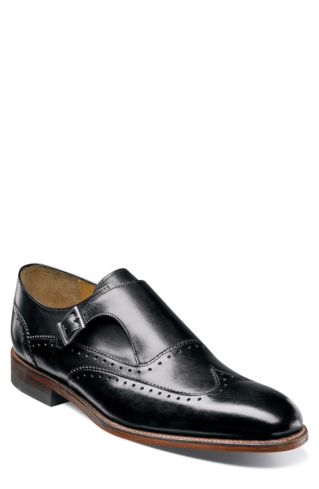 Madison II Monk Strap Shoe,                             Main thumbnail 1, color,                             Black