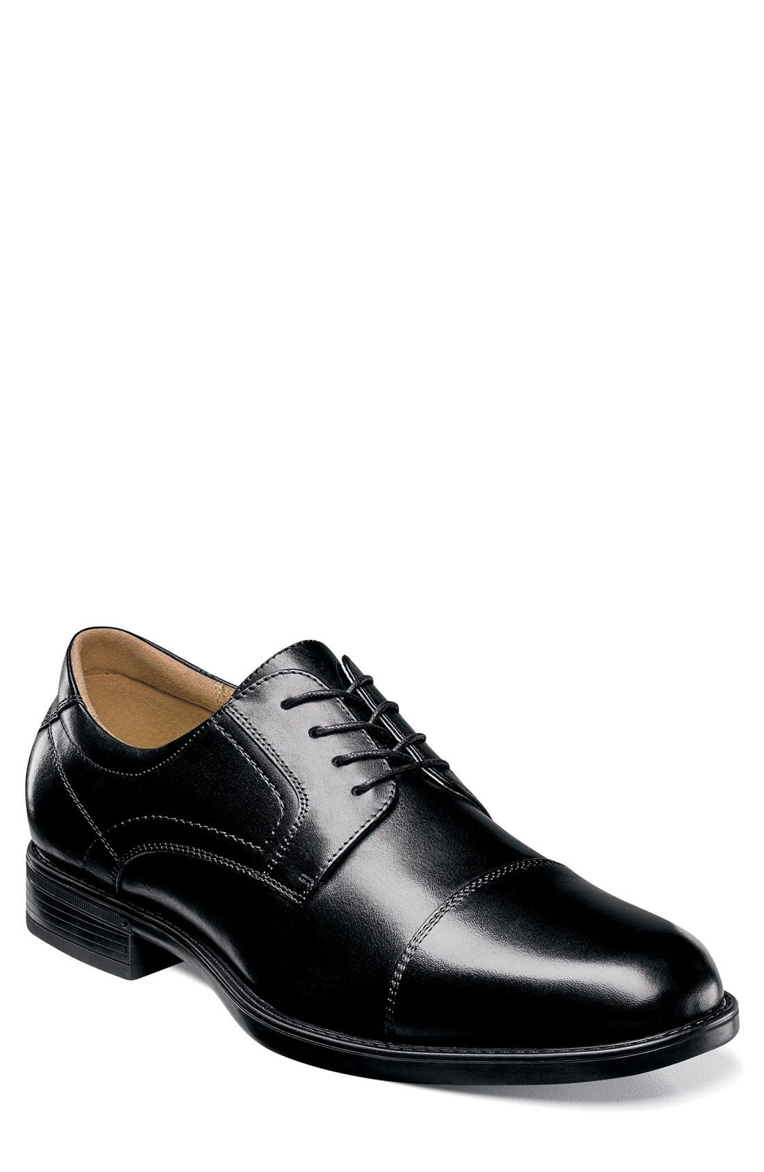 'Midtown' Cap Toe Derby,                             Main thumbnail 1, color,                             Black Leather
