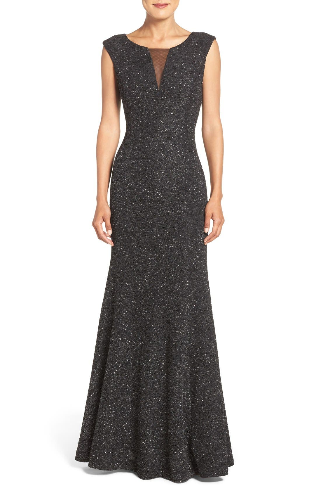 Glitter Knit Gown,                         Main,                         color, Black Silver