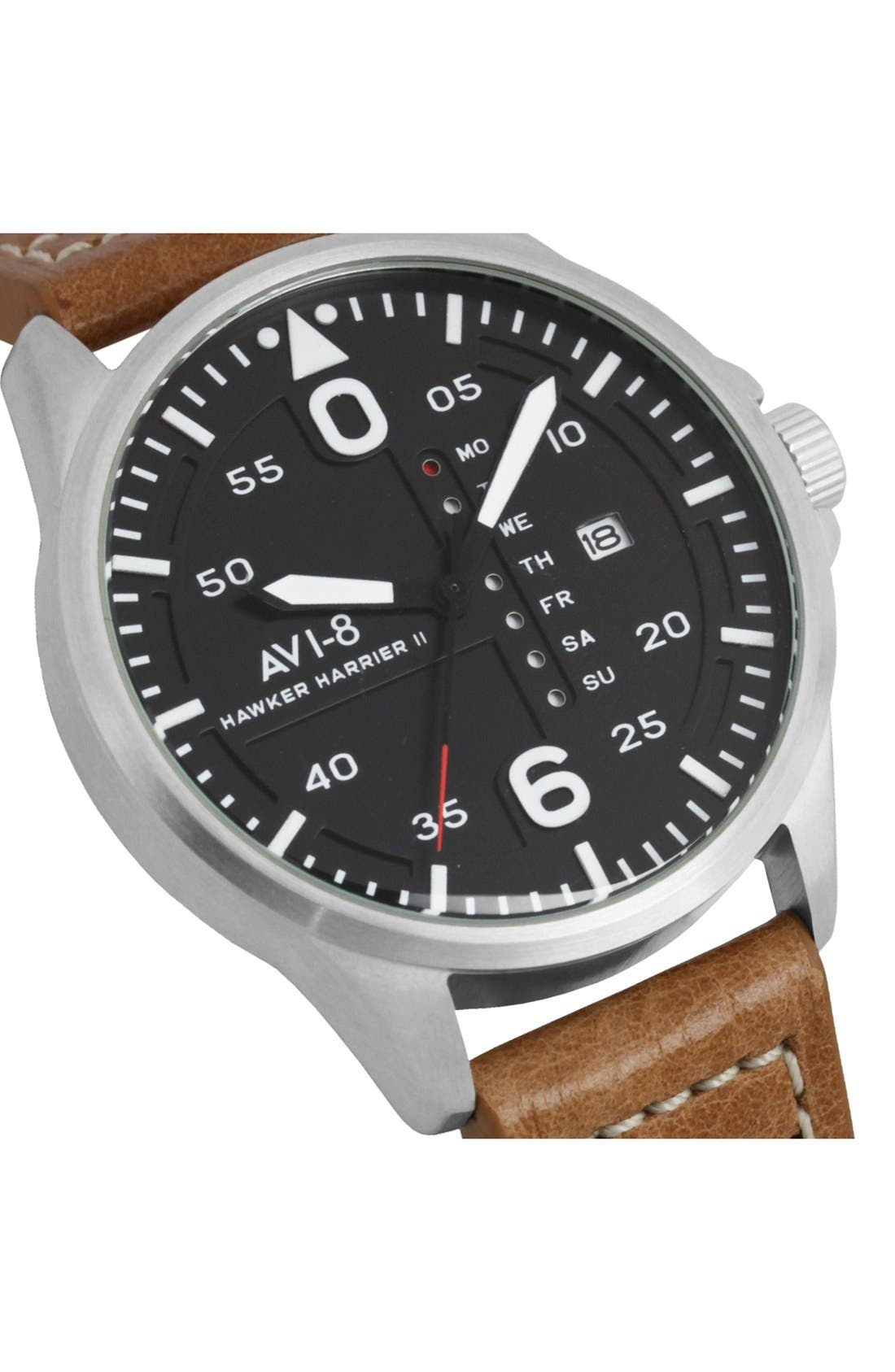 'Hawker Harrier II' Leather Strap Watch, 45mm,                             Alternate thumbnail 5, color,                             Black/ Tan