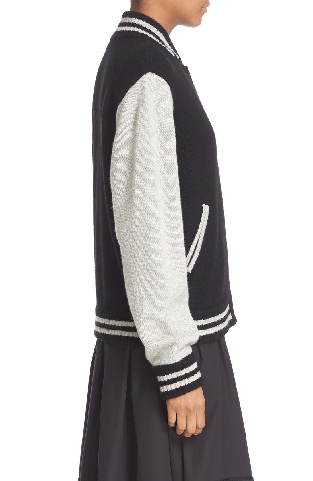 Stripe Detail Wool & Cashmere Knit Varsity Jacket,                             Alternate thumbnail 6, color,                             Black