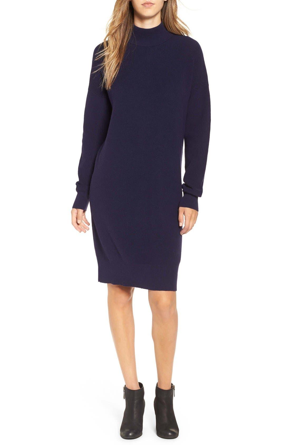 Mock Neck Knit Sweater Dress,                         Main,                         color, Navy Evening