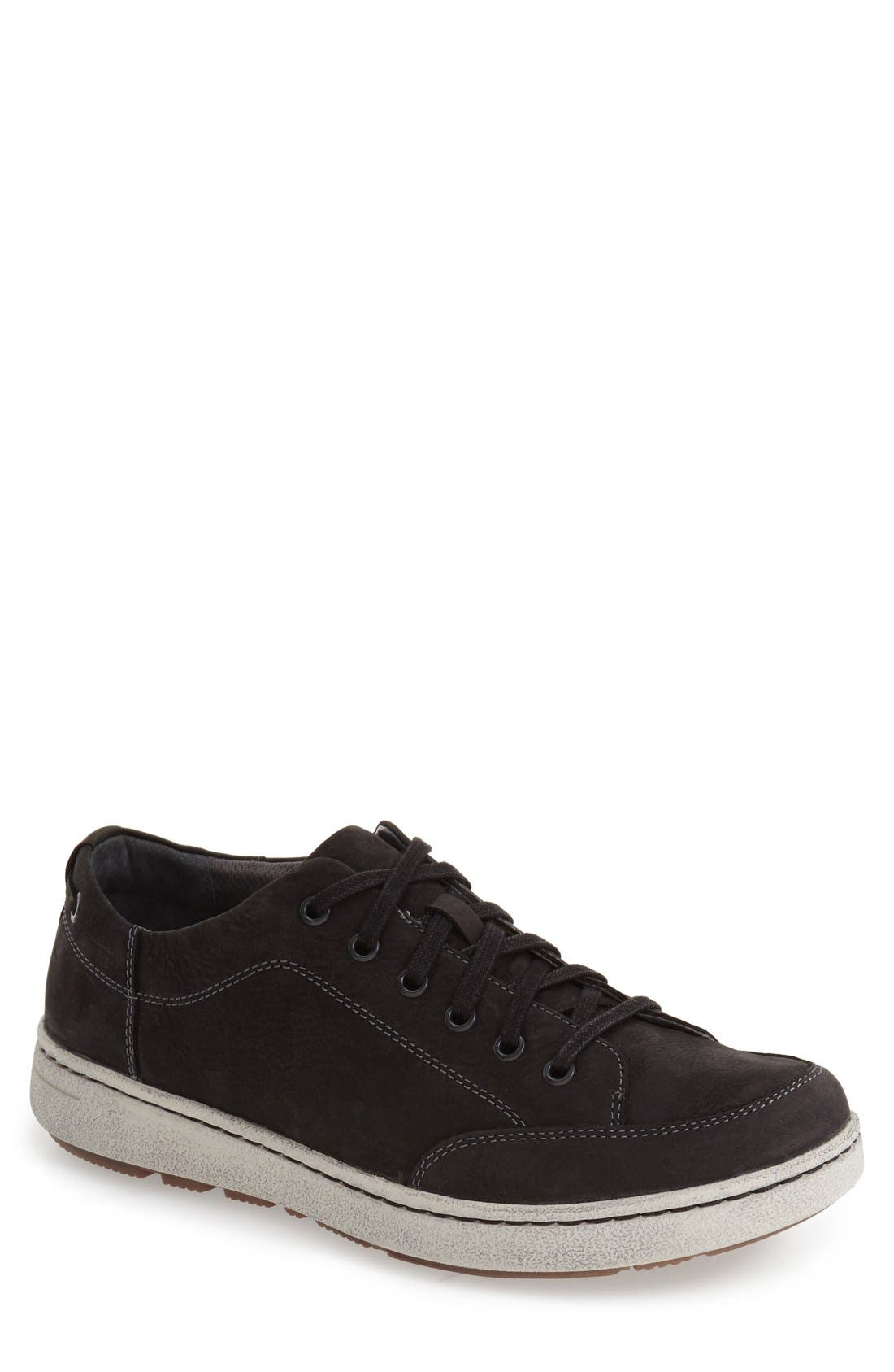 'Vaughn' Water-Resistant Sneaker,                             Main thumbnail 1, color,                             Black Milled Nubuck Leather