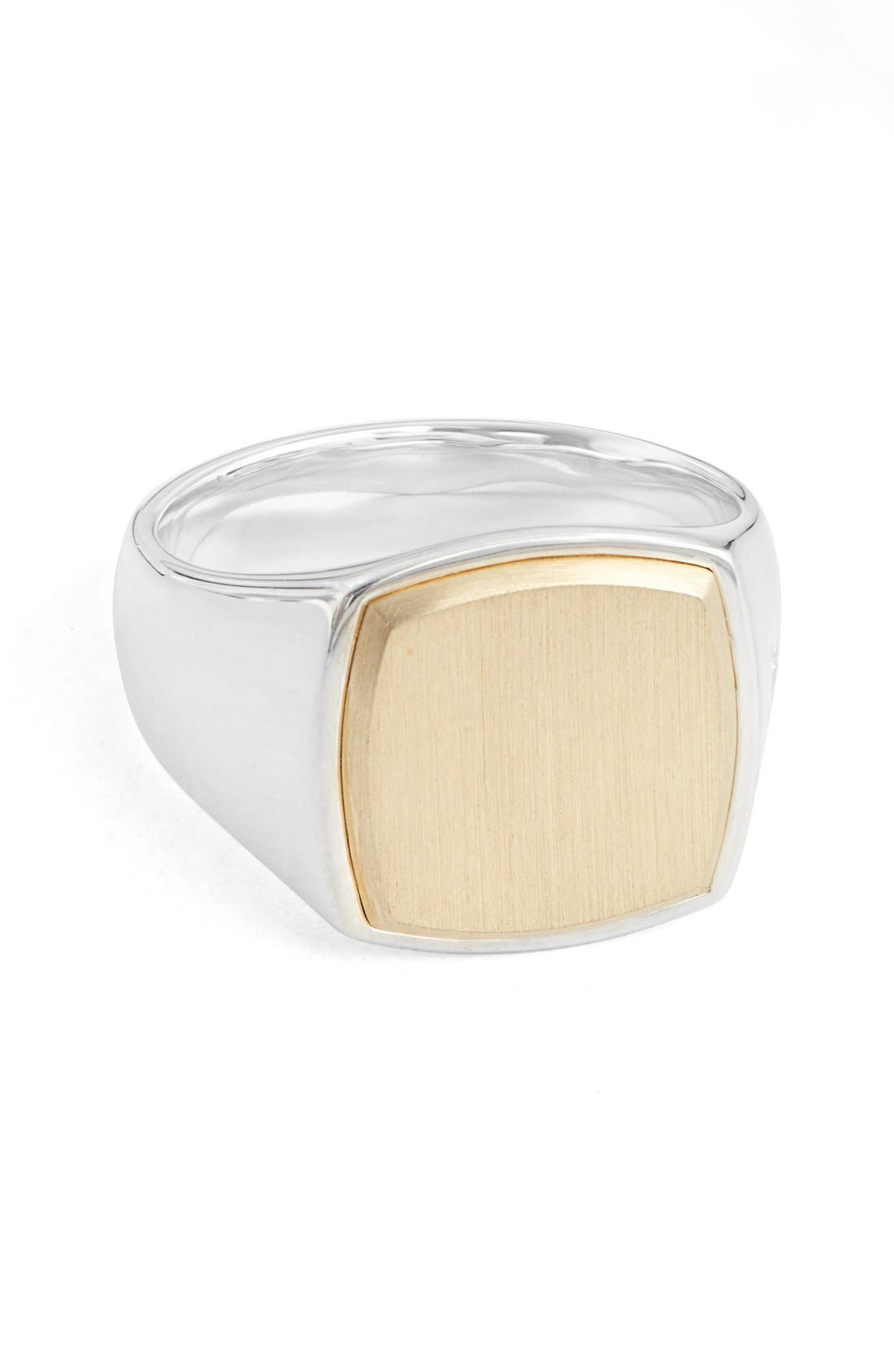 'Patriot Collection' Cushion Gold Top Signet Ring,                         Main,                         color, Silver / 9K