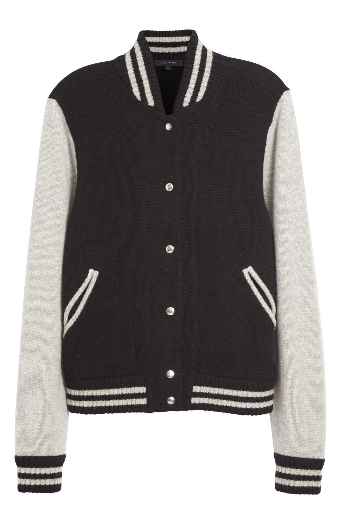 Stripe Detail Wool & Cashmere Knit Varsity Jacket,                             Alternate thumbnail 4, color,                             Black