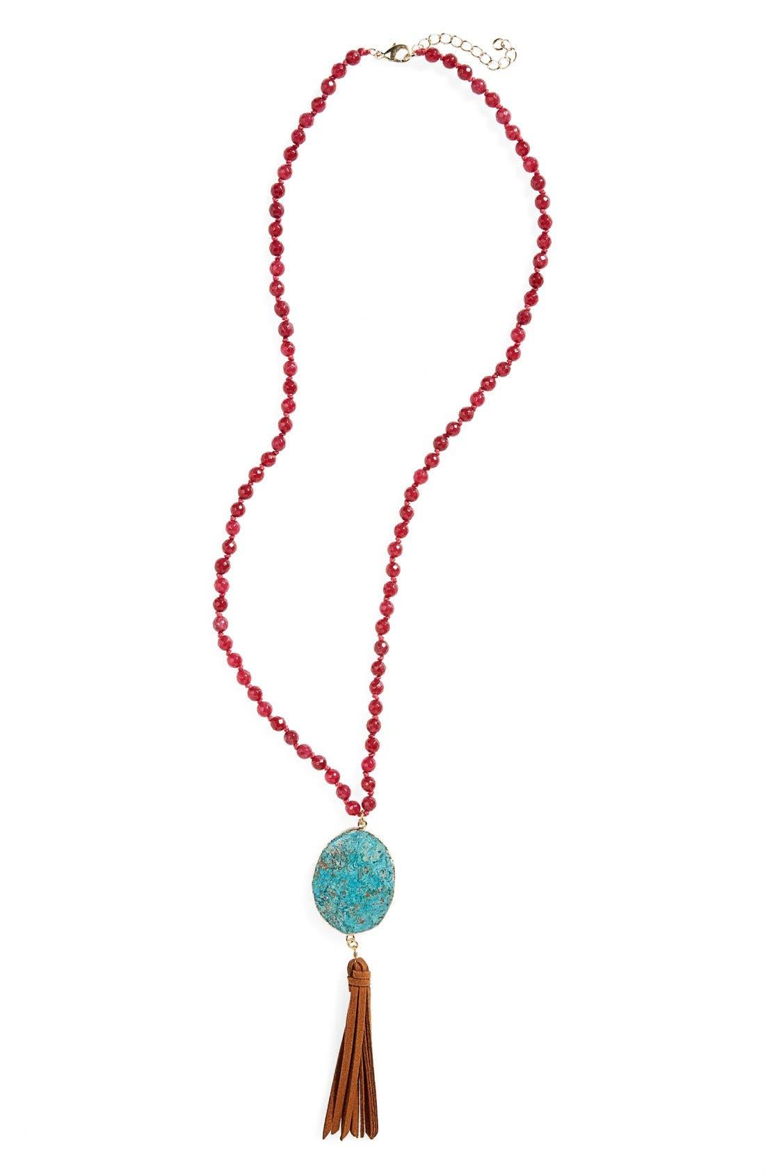 Alternate Image 1 Selected - Panacea Jasper & Tassel Pendant Necklace
