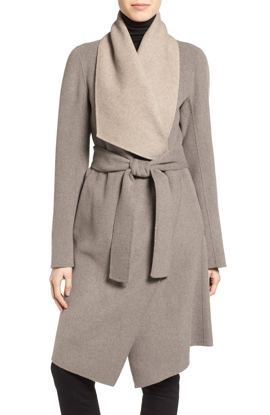 Reversible Double Face Wrap Coat,                         Main,                         color, Taupe/ Oatmeal