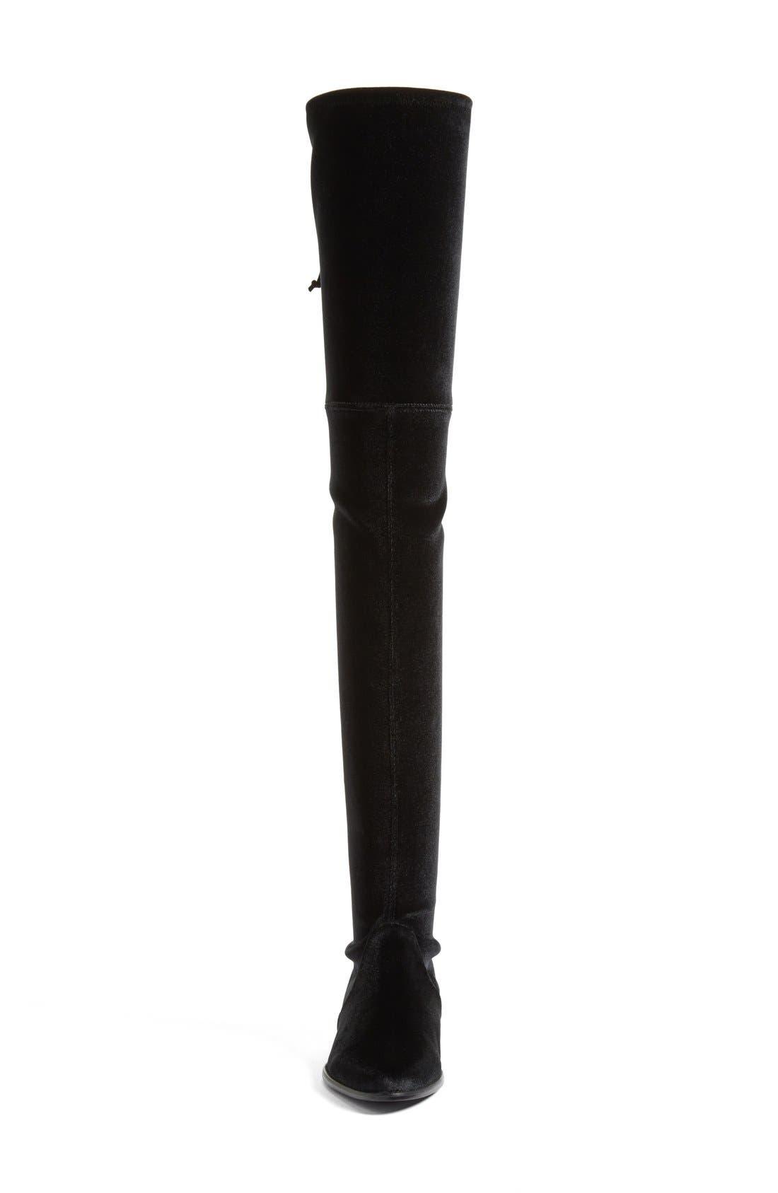 'Leggylady' Over the Knee Boot,                             Alternate thumbnail 3, color,                             Nero Stretch Velvet