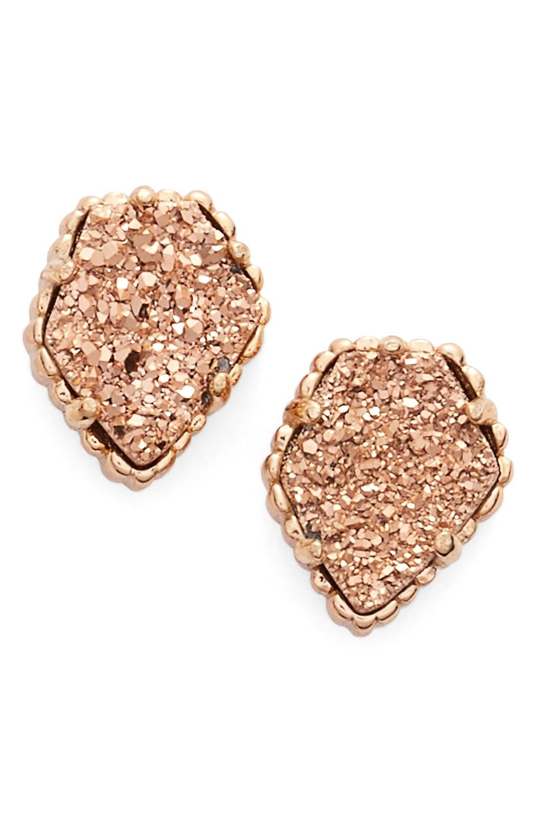 Tessa Stone Stud Earrings,                             Main thumbnail 1, color,                             Rose Drusy/ Rose Gold